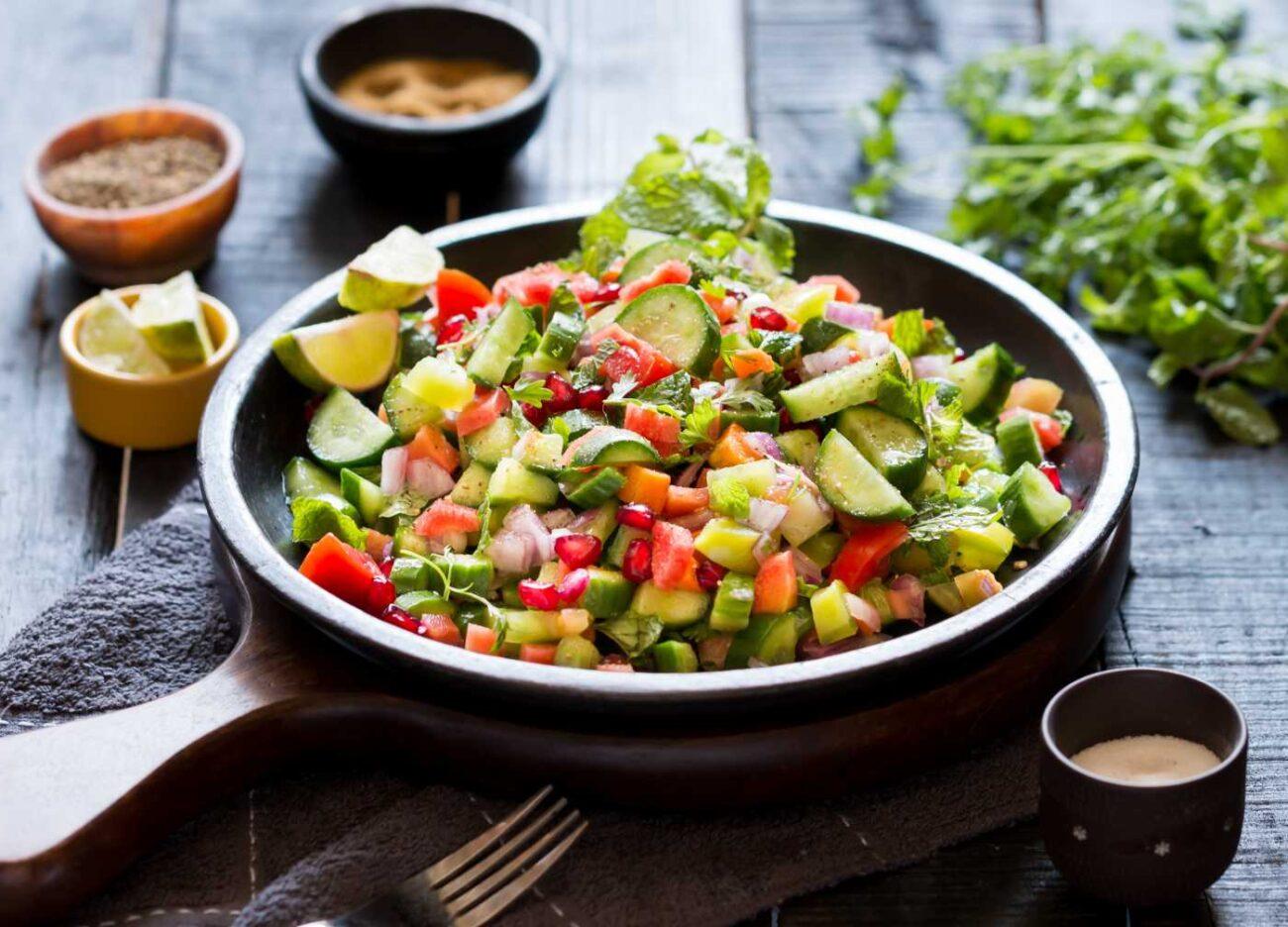 Indian cucumber salad (kachumber)